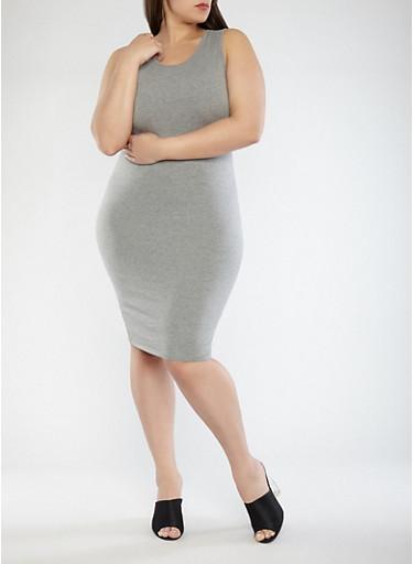 Plus Size Tank Dress,HEATHER,large