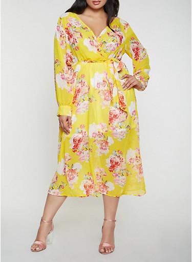 Plus Size Printed Faux Wrap Midi Dress,GOLD,large