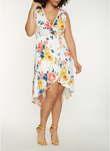 Plus Size Floral High Low Dress,IVORY,large
