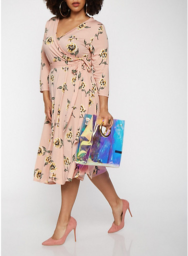 Plus Size Printed Faux Wrap Dress with Sleeves,BLUSH,large