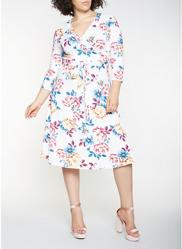 Plus Size Floral Faux Wrap Midi Dress,IVORY,large