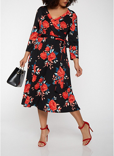 Plus Size Floral Faux Wrap Dress with Sleeves,BLACK,large