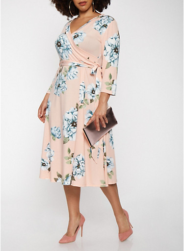 Plus Size Floral Faux Wrap Midi Dress with Sleeves,BLUSH,large