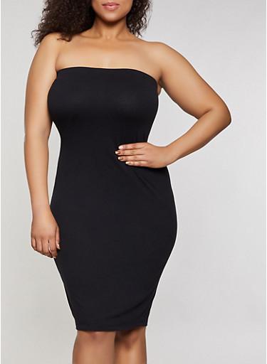 Plus Size Tube Dress,BLACK,large