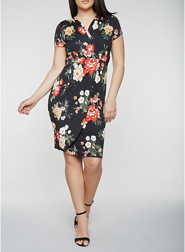 Plus Size Short Sleeve Floral Midi Dress,BLACK/RED,large