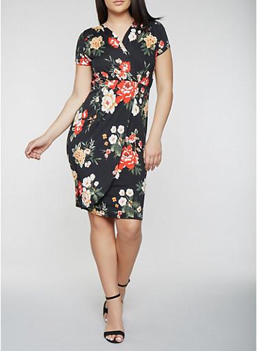Plus Size Short Sleeve Floral Midi Dress | Tuggl
