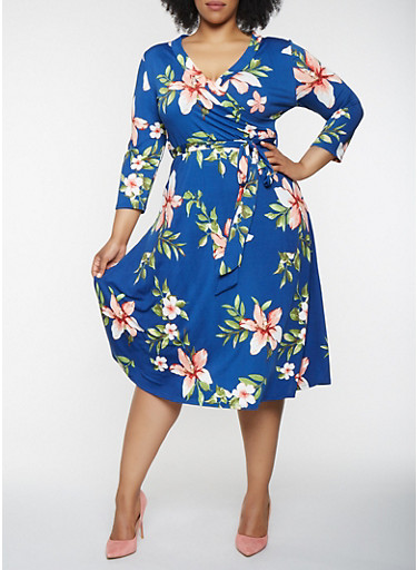 Plus Size Floral Faux Wrap Midi Dress with Sleeves,NAVY,large