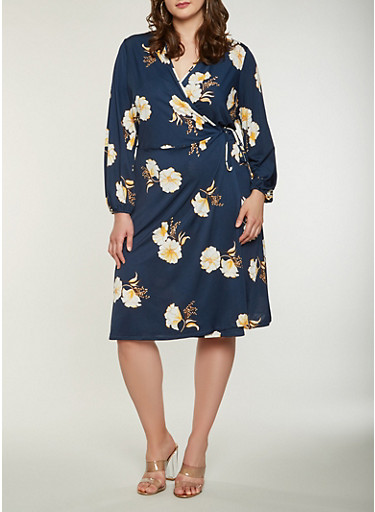 Plus Size Long Sleeve Floral Midi Wrap Dress,NAVY,large