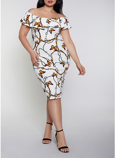 Plus Size Butterfly Print Off the Shoulder Dress,WHITE,large