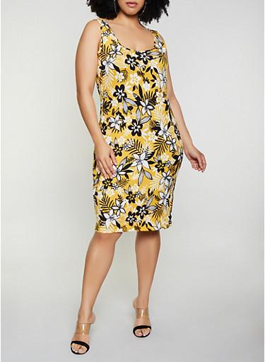 Plus Size Floral Leaf Print Tank Midi Dress,GOLD,large