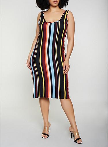 Plus Size Striped Soft Knit Tank Midi Dress,BLACK,large