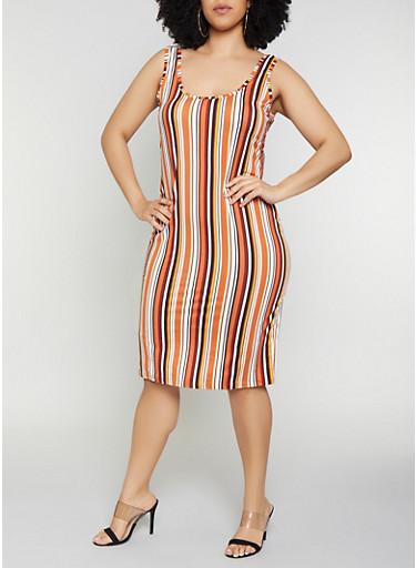 Plus Size Striped Tank Dress | 0390075179090,RUST,large