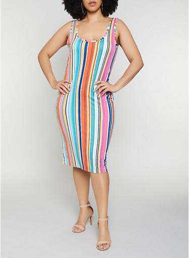 Plus Size Striped Tank Midi Dress | 0390075179093,RUST,large