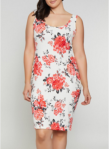 Plus Size Floral Tank Midi Dress