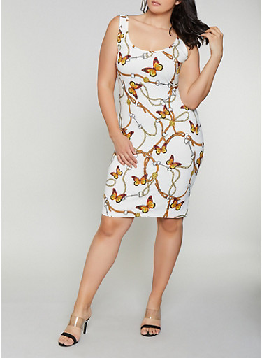 Plus Size Butterfly Chain Print Tank Dress