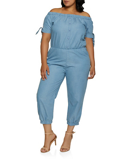Plus Size Cinched Waist Off the Shoulder Denim Jumpsuit,MEDIUM WASH,large