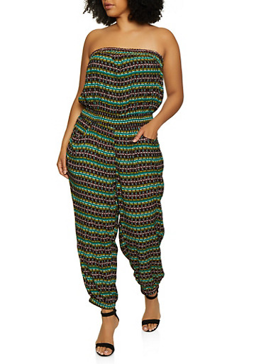 Plus Size Printed Strapless Jumpsuit | 0392038340320,JADE,large