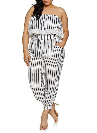 Plus Size Crochet Detail Striped Jumpsuit,WHITE,large