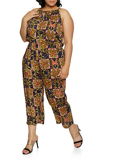 Plus Size Sleeveless Printed Jumpsuit,NAVY,large