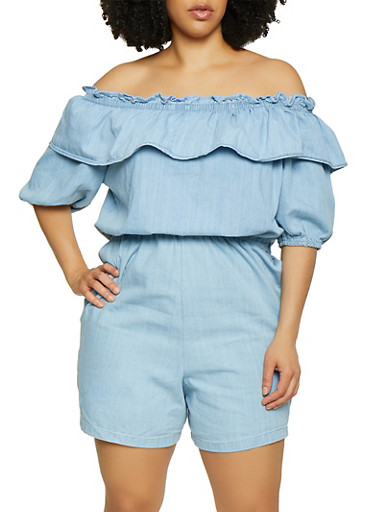 Plus Size Ruffled Off the Shoulder Denim Romper,LIGHT WASH,large