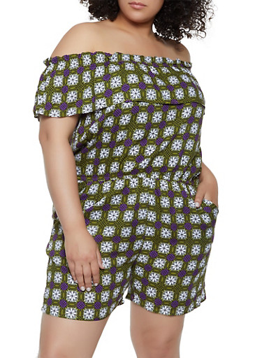 Plus Size Printed Off the Shoulder Romper | 0392038340353,LIME,large
