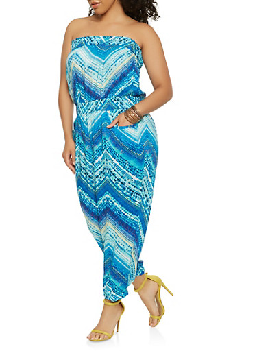 Plus Size Printed Jumpsuit,BLUE,large