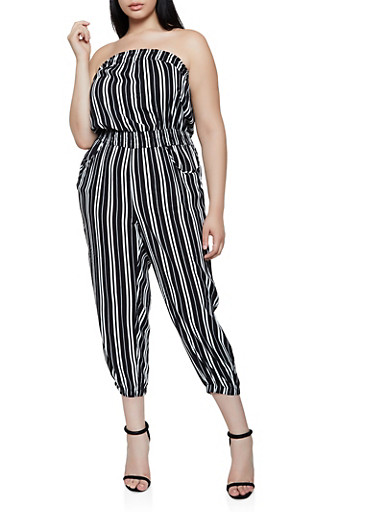 Plus Size Striped Lightweight Tube Jumpsuit,BLACK/WHITE,large