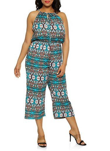Plus Size Printed Tie Neck Jumpsuit,TEAL,large