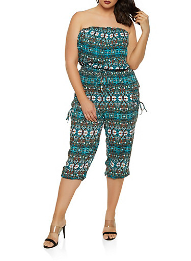 Plus Size Strapless Printed Jumpsuit,TEAL,large