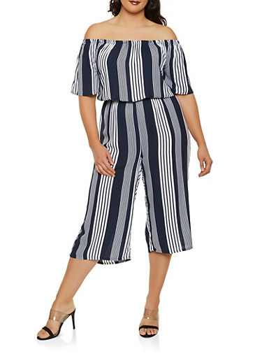 Plus Size Striped Off the Shoulder Wide Leg Jumpsuit,NAVY,large