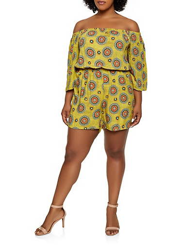 Plus Size Printed Off the Shoulder Romper | 0392038341351,LIME,large