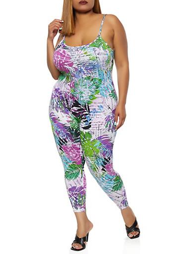 Plus Size Tropical Print Jumpsuit,WHITE,large