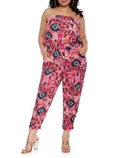 Plus Size Printed Strapless Jumpsuit,FUCHSIA,large