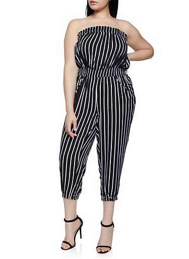 Plus Size Lightweight Striped Tube Jumpsuit,BLACK,large