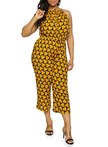 Plus Size Wide Leg Printed Jumpsuit,MUSTARD,large