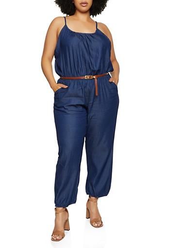 Plus Size Belted Denim Jumpsuit,BLUE,large