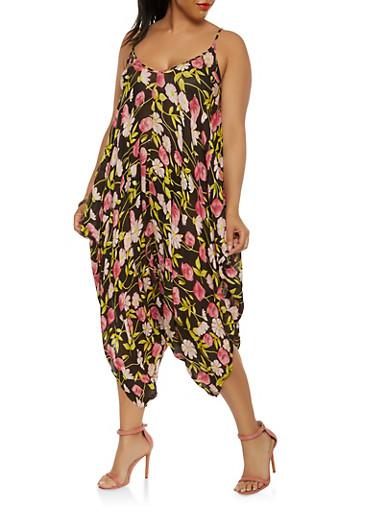 Plus Size Floral Pattern Harem Jumpsuit,BLACK,large