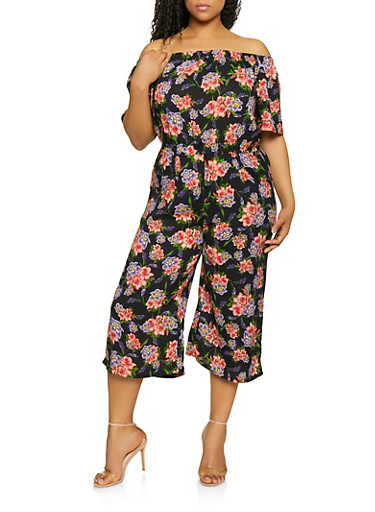 Plus Size Floral Off the Shoulder Cropped Jumpsuit,BLACK,large