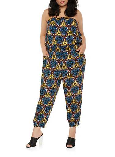 Plus Size Printed Strapless Jumpsuit,MUSTARD,large