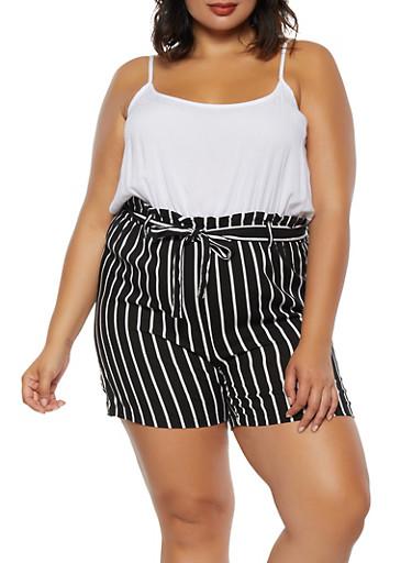 Plus Size Striped Tie Paper Bag Waist Romper,BLACK/WHITE,large