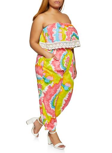 Plus Size Crochet Trim Tie Dye Jumpsuit,LAVENDER,large
