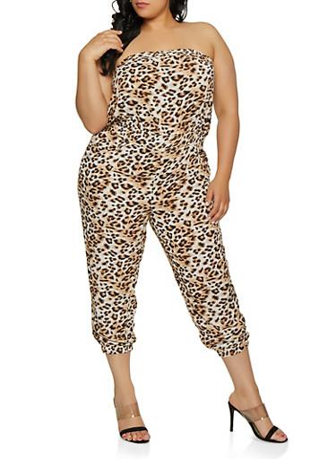 Plus Size Printed Tube Jumpsuit | 0392038345320,BROWN,large