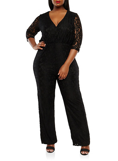 Plus Size Lace Jumpsuit with Sleeves,BLACK,large