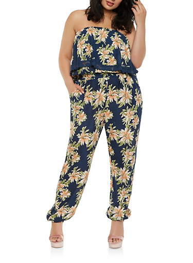 Plus Size Printed Strapless Jumpsuit,NAVY,large