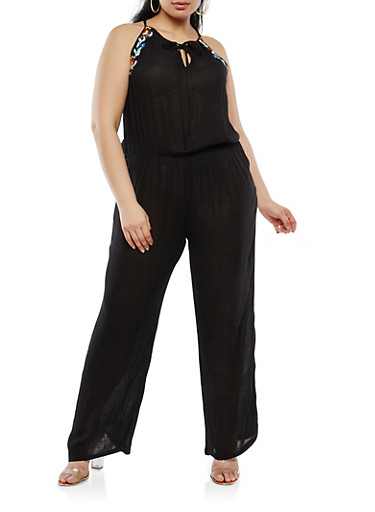 Plus Size Embroidered Gauze Knit Jumpsuit,BLACK,large