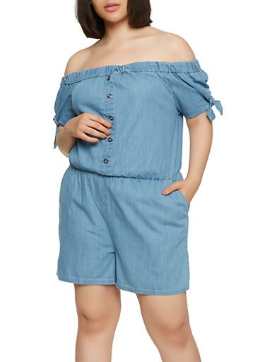 Plus Size Off the Shoulder Denim Romper,LIGHT WASH,large
