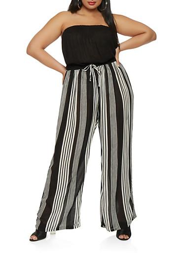 Plus Size Striped Wide Leg Jumpsuit,BLACK/WHITE,large