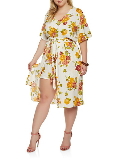 Plus Size Floral Romper with Midi Skirt Overlay,IVORY,large