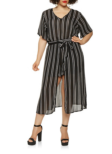 Plus Size Tie Waist Striped Romper,BLACK/WHITE,large