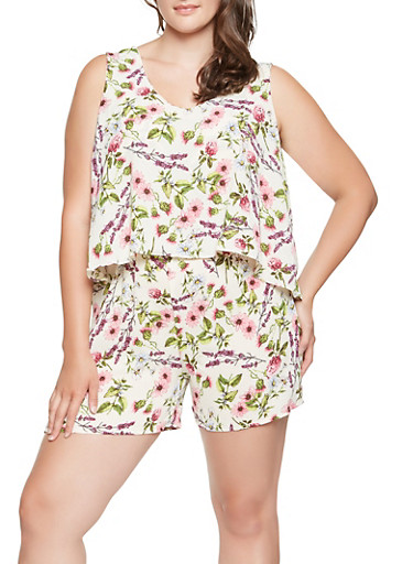 Plus Size Floral Overlay Romper,IVORY,large